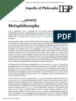 Contemporary Metaphilosophy. Internet Encyclopedia of Philosophy