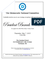 President Obama reception invitation 2015