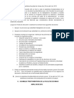 Relatoría Asamblea Facultad de Minas Día 28 de Abril de 2015 o