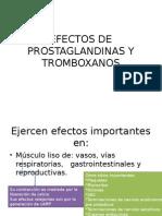 Efectos de Prostaglandinas y Tromboxanos