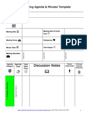Meeting Agenda And Minutes Template Pdf Business