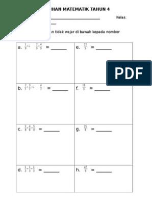 Latihan Matematik Tahun 4 Pecahan P T W