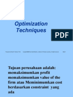 Optimization Techniques and New Management Tools