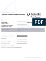 After Hours Telephone Allowance Claim Form