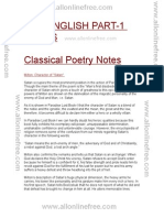 Classical Poetry English Literature Notes