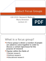 how to conduct focus groups - lecture 2c