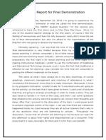 Narrative Report for Final Demonstration