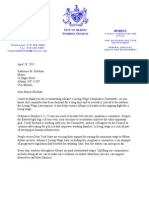 Living Wage Compliance Committee Letter