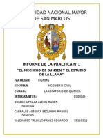 UNMSM INFORME DE LA PRACTICA N°1 EL MECHERO DE BUNSEN Y EL ESTUDIO DE LA LLAMA