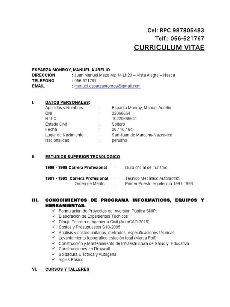 Curriculum Vitae Manuel Esparza Monroy