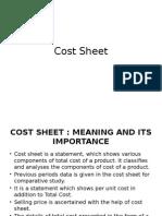 Cost Sheet