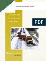 Rapport spécial sur L'entretien des routes en hiver