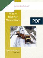 Winter Highway Maintenance Report
