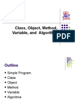 Class, Object, Method, Variable, And Algorithm