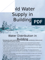 Cold Water Supply in Building