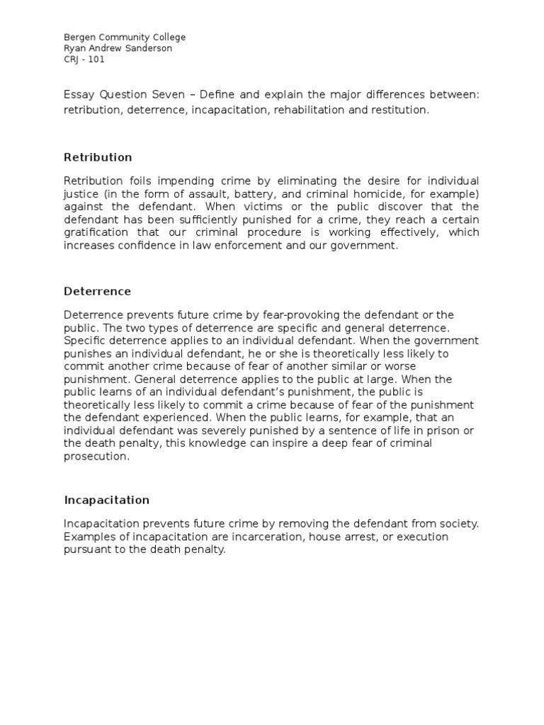 Crj 101 Essay Six Deterrence Legal Punishments