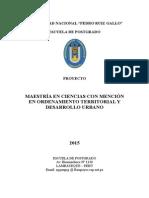 Maestria Ordenamiento Territorial y Desarrollo Urbano - Febrero 2015