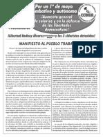 MANIFIESTO AL PUEBLO TRABAJADOR