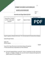 Matriculation Fee Receipt