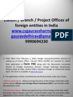 Setup Liaison or Branch or Project Offices of Foreign Entities in India