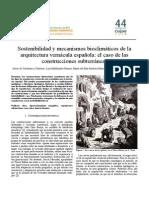 Sostenibilidad y Mecanismos Bioclimáticos de La Arquitectura Vernacula Española