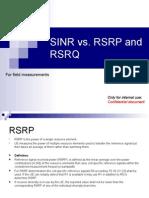 Rsrp vs Rsrq vs Sinr