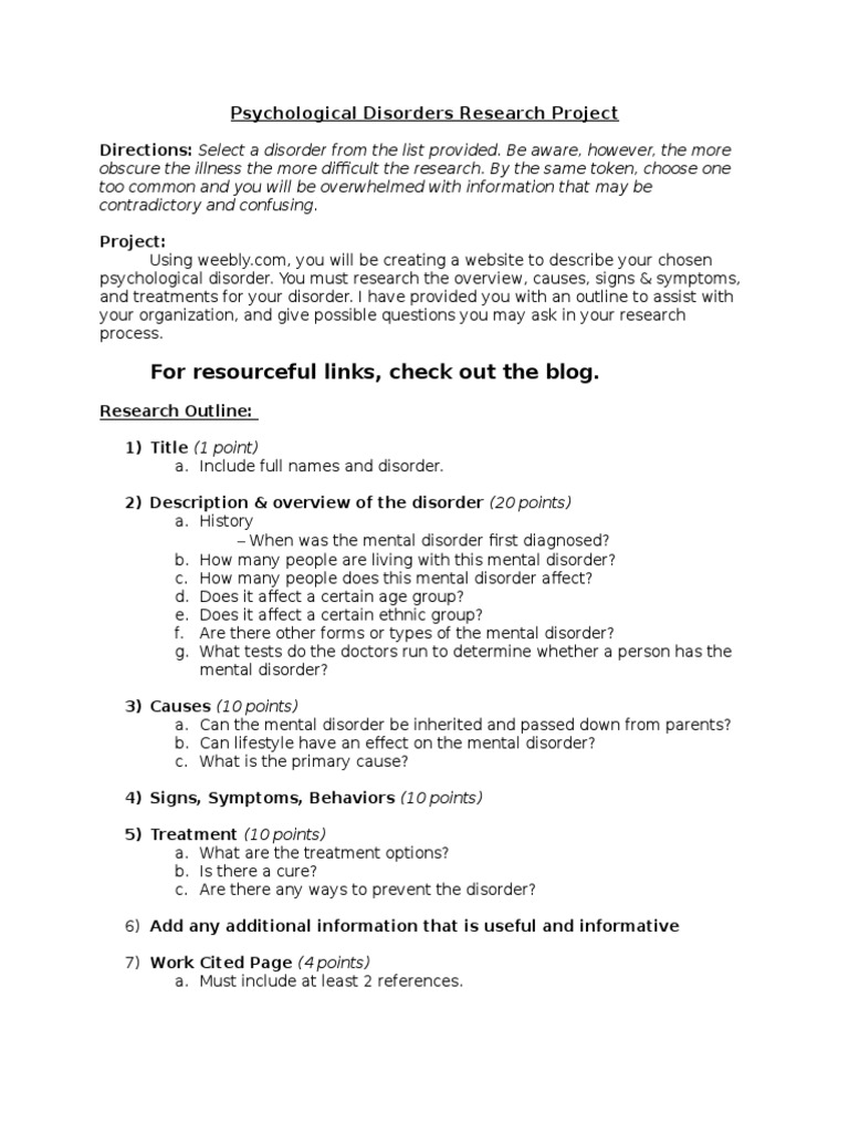 psychological disorder research project explanation & rubric