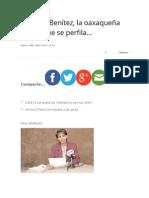 28.04.2015 Mariana Benítez, la oaxaqueña priista que se perfila…