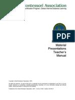 Montessori Material Presentations Teacher's Manual
