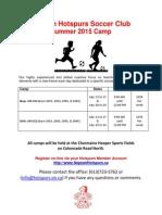 2015 Summer Camp Informaton
