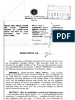 Comelec Resolution No. 8754- Local Absentee Voting