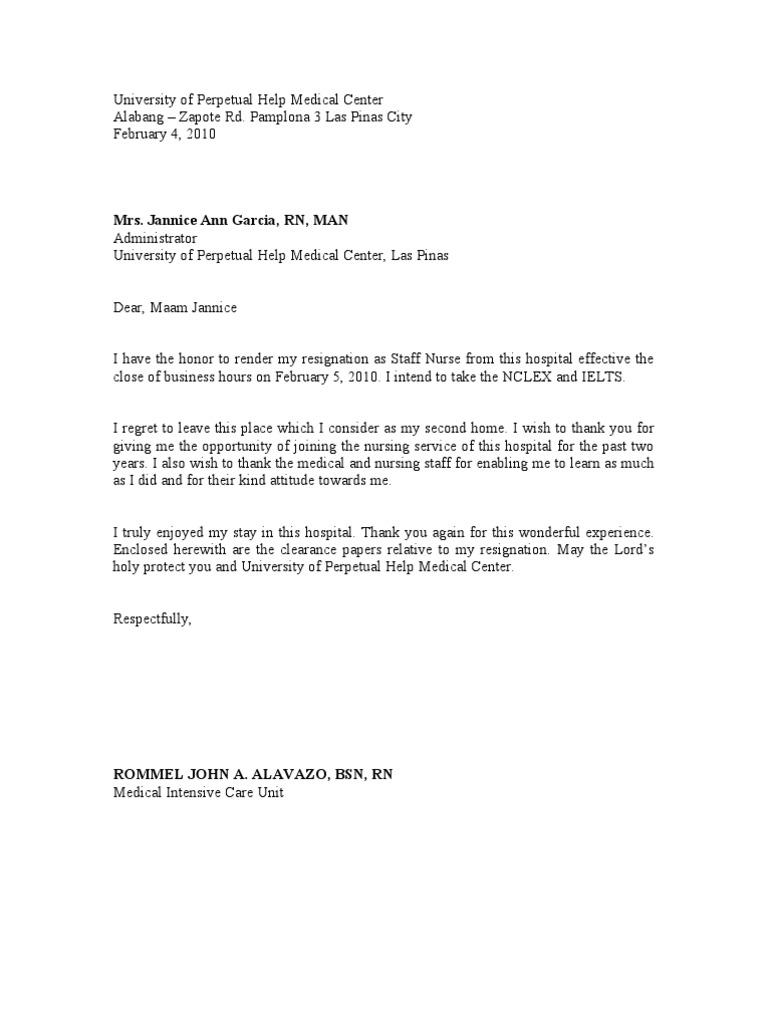 Resignation Letter – Nursing Resignation Letter