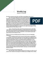 Weekly Log Reflections