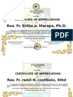 Certificate for the Feast Day