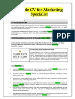 Marketing Specialist Sample Cv