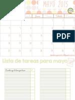 Calendario imprimible mayo 2015