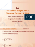 The Definite Integral Part 2 Thursday, February