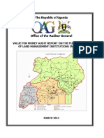 Value for money audit of the functionality of land management institutions in Uganda
