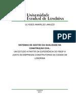 Sistema de Gestão Na Qualidade Da Construção Civil