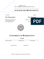 University of Washington Respondent's Memorandum