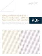 Safety performance indicators – Process safety events – 2013 data - Fatal incident and high potential events