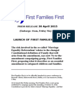 First Families First Official Press Release