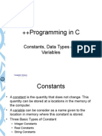 1. Constants, Data Types and Variables