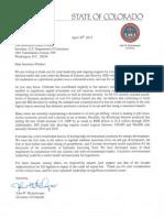 Letter from Gov. Hickenlooper to Sec. Pritzker
