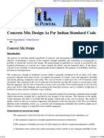 Concrete Mix Design as Per Indian Standard Code