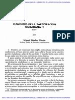 SANCHEZ MORON, Miguel. Elementos de La Participación Ciudadana. 1984