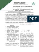 Saponificación de Acetato de Etilo Con Hidróxido de Sodio en Reactor Tubular