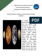 Definicion de Los Planetas Terretres