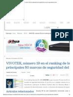 VIVOTEK, Número 19 en El Ranking de Las Principales 50 Marcas de Seguridad Del Mundo