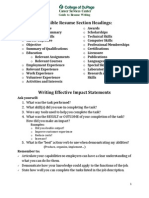 Career Services Center Guide to Resume Writing
